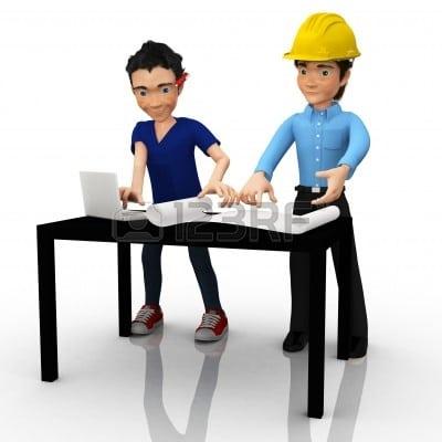3D arquitectos o ingenieros mirando planos ? aislada   Foto de archivo - 10595279